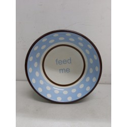 Feed Me- Rabbit Food Bowl (blue with white dots)