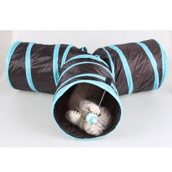 Pet Cat Tunnel - Collapsible 3 Way Tube for Rabbits